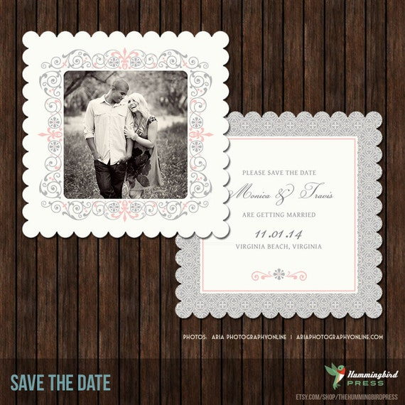 INSTANT Download 5x5 PSD Luxe or Flat Save the Date Card Template - S9