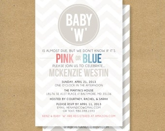 Baby Shower Invitation -- GENDER NEUTRAL SHOWER - Pink, Blue, Neutral Chevron