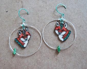 Red Fox Earrings  / Chevron Earrings / Hoop Earrings / Orange and Turquoise / Woodland / ZigZag / Plastic Jewelry / Wearable Art