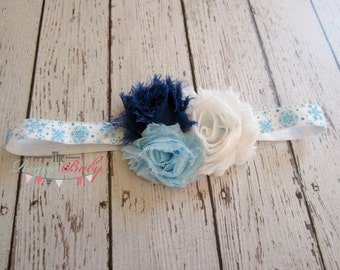 Winter Wonderland Snowflake Headband - White Blue -  Baby Newborn Infant Photo Prop Toddlers Girls Women