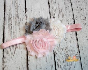 Baby Pink White Gray Headband - Newborn Infant Baby Toddler Girls Adult Wedding Spring New Baby