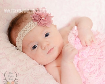 Newborn Baby Petite Headband. Photo Prop Ivory Cream Lace with Dusty Rose Flower Rhinestones & Pearls Preemie