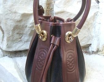 Unique Black & Brown Vinyl Round Bucket Handbag