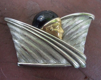 ART DECO Style Mixed Metal Woman Brooch c 1980s
