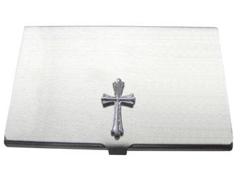Textured Cross Business Card Holder