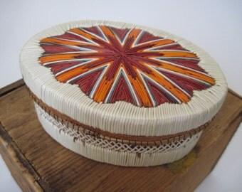 Vintage Native American Indian Porcupine Quill  Basket