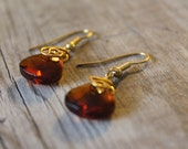 Brown Sea Crystal gold wire wrapped bead dangle earrings