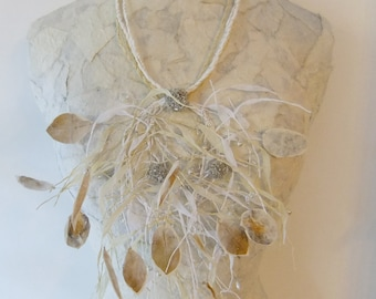 White Statuesque Paper Necklace w/ Pearl Beads & Crocheted Silk Wire Balls etc.