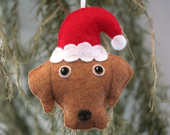 Cute Felt Red Lab Dog with Santa Hat Ornament