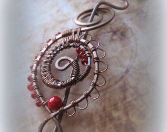 Red Shawl pin, Ornate Wire Wrapped Shawl Pin with Coral and Glass (Brooch, scarf pin, filigree, hat pin, fibula, red, beaded)