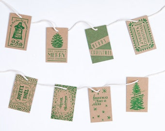Letterpress Christmas Gift Tags / Green