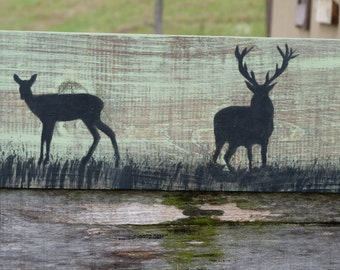 Deer, Buck Wall Art, Wood Board, Wall Hanging, Mantel, Country Rustic Art, Deer, Man Cave Art