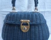 Vintage navy blue plastic covered straw ladies purse