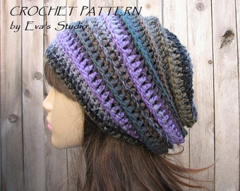 Crochet Hat Pattern- Slouchy  Hat, Crochet Pattern PDF,Easy, Great for Beginners,  Pattern No. 33