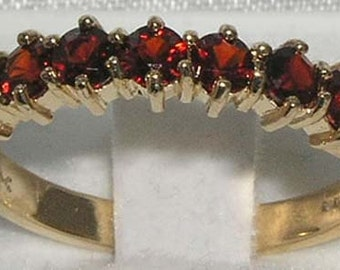 14K Yellow Gold Natural Colorful Garnet 7 Stone Half Eternity Ring, Anniversary Ring - Made in England - Customize Your Ring!