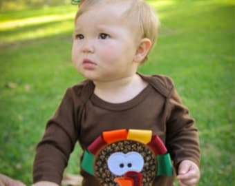 Thanksgiving custom ribbon turkey onesie and can be made to match
