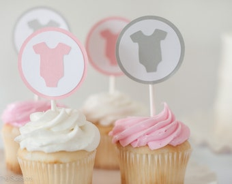 Baby Shower Decoration, Girl Baby Shower, Baby Girl Decorations, Pink Gray Shower, Baby Shower Cupcake Toppers