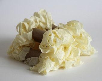 5 m - 5.4 yards - CREAM Shabby Wrinkled Ribbon - Crinkled Seam Binding Ribbon