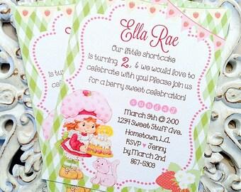 Vintage Strawberry Shortcake Birthday Invitations (10) - Strawberry Shortcake Invitation-Strawberry Party-Strawberry Shortcake Baby Shower