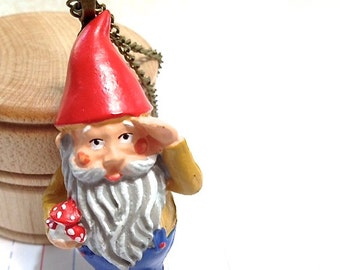 Traveling Garden Gnome with Red Hat Necklace. Miniature Cutie. Resin Pocket Friend. Brass Chain. Vintage Style. Gift. Adventures.