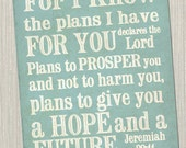 """For I know the plans I have for you..."""" Jeremiah 29:11 Subway Art Print. JPEG Download Pack"""