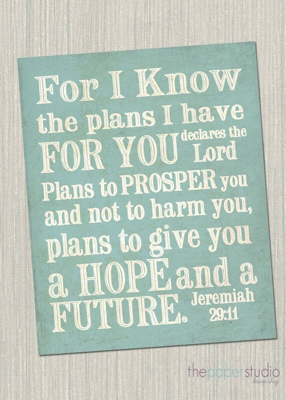 "For I know the plans I have for you..."" Jeremiah 29:11 Subway Art Print. JPEG Download Pack"