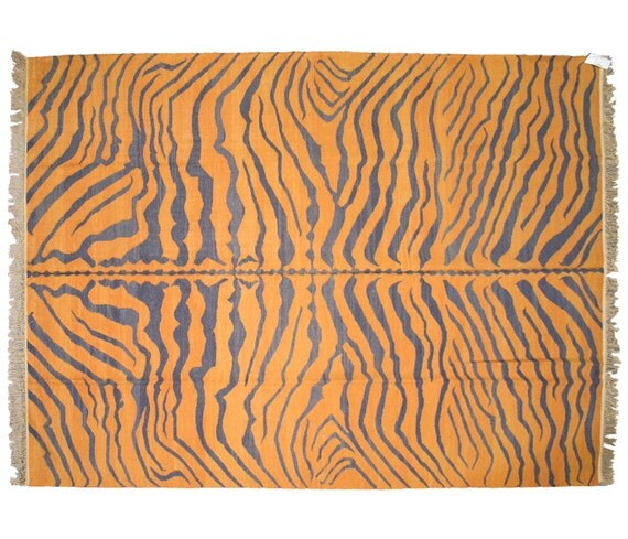 9x12 Tiger Print Orange/Charcoal Dhurrie Rug 012491 By