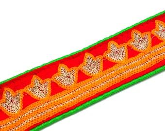Raw Silk Border in Orange, Red, Spring Green and Gold - Embroidered Sari Border - Gota Ribbon for Wedding Lehenga Dresses - Gota Border