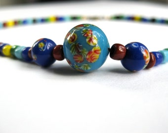 Beaded Choker Necklace 1970s Blue Multi Colored Red Yellow Glass Boho Festival Fashion Teenage Gift Idea