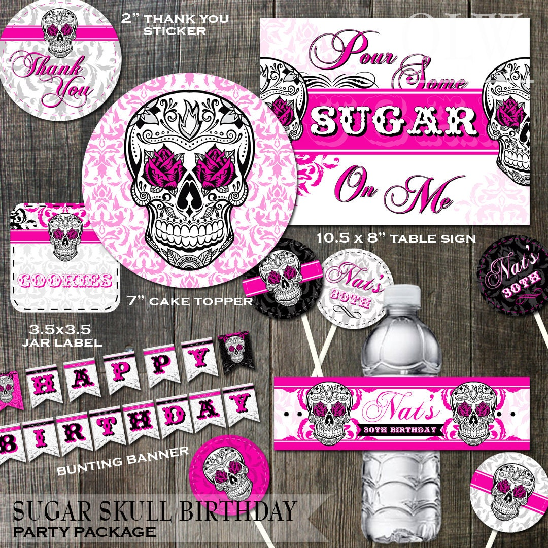 Sugar Skull Birthday Party Decoration Package Cake Toppers
