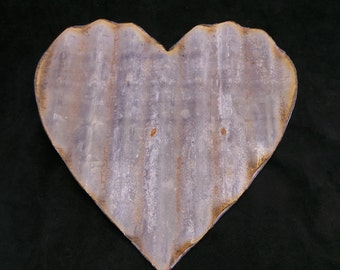 FREE SHIPPING Up-cycled old Corrugated Metal Heart