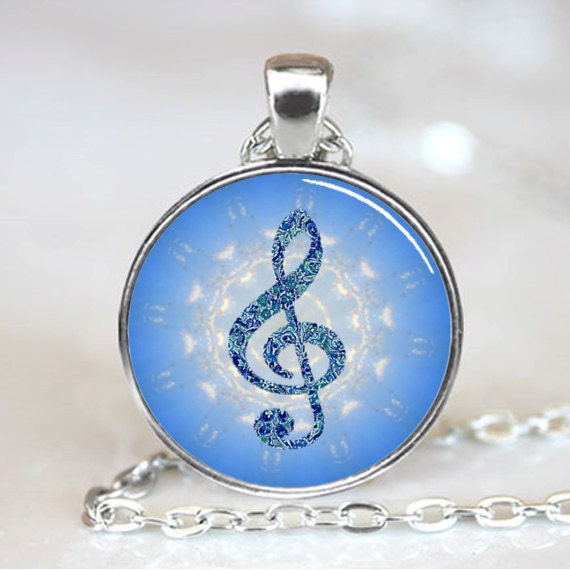 Music Note Blue Treble Clef  Handcrafted  Necklace Pendant (PD0162)