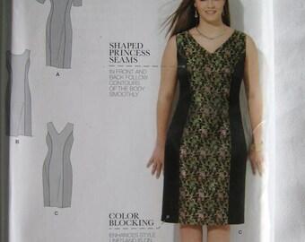 Amazing Fit Simplicity Misses Color Block Shift Sheath Dress Pattern S0502 UC Uncut FF Size 20 22 24 26 28 W