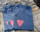 Gift bags - Fabric Gift Bag - Heart Gift Bag - Reusable Gift Bag