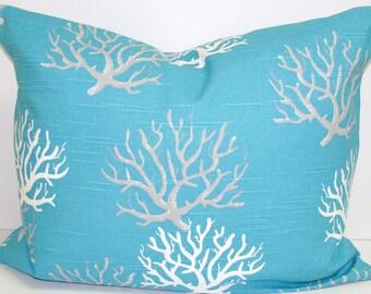 CORAL Pillows.12x16 or 12x18 Inch Pillow Cover.Nautical.Blue Cushion.Beach Decor.Decorative Pillows.Cushions.Beach House Decor.Housewares.cm