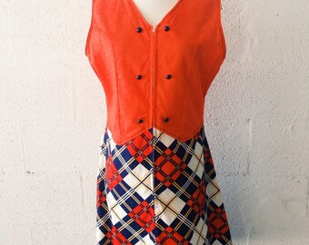 1970's Orange Crush / Plaid Day Dress