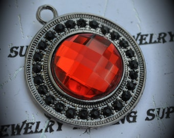Gun Metal Pendant With Black And Red Crystals