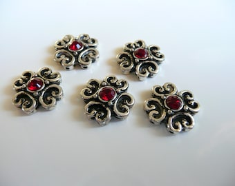 Swarovski Crystal Antique Oxidized Silver Plated 2 Hole Slider Bead - 15mm - Red Siam -  5 pieces