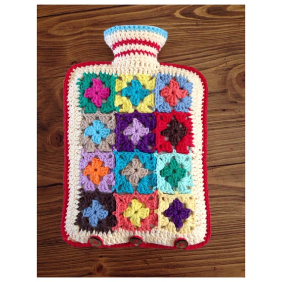 Crochet hot water bottle cover / Crochet granny square water