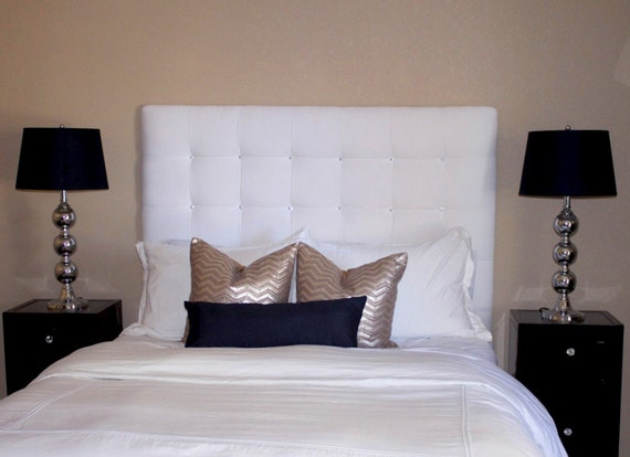 items similar to custom tufted upholstered headboard wall mounted made to order on etsy. Black Bedroom Furniture Sets. Home Design Ideas