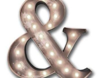 """36"""" Huge Old Vintage Style Marquee Letters Metal Steel...........       Wedding A B C D E F G H I J K L M N O P Q R S T U V W X Y Z"""