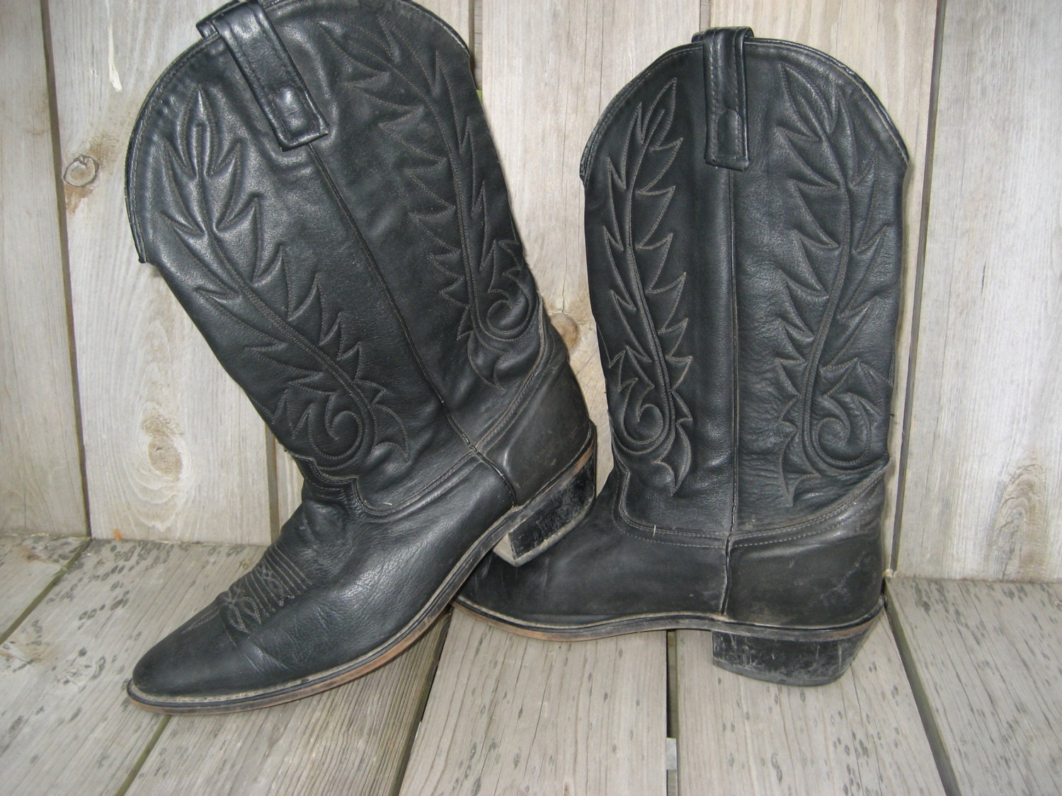 vegan faux leather black cowboy boots s size 12 by