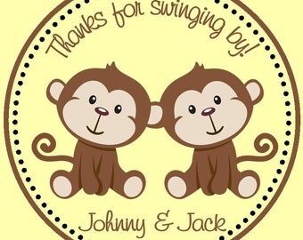 Twin Monkey Favor Tags