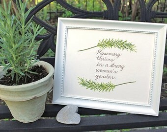 Rosemary Watercolor Painting, Kitchen Garden Art, Herb Watercolor Print, Rosemary Painting, Strong Woman Inspirational Quote, Hand Lettered