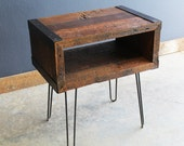 Industrial End, Side Table, TV Stand from Old barnwood with hairpin legs