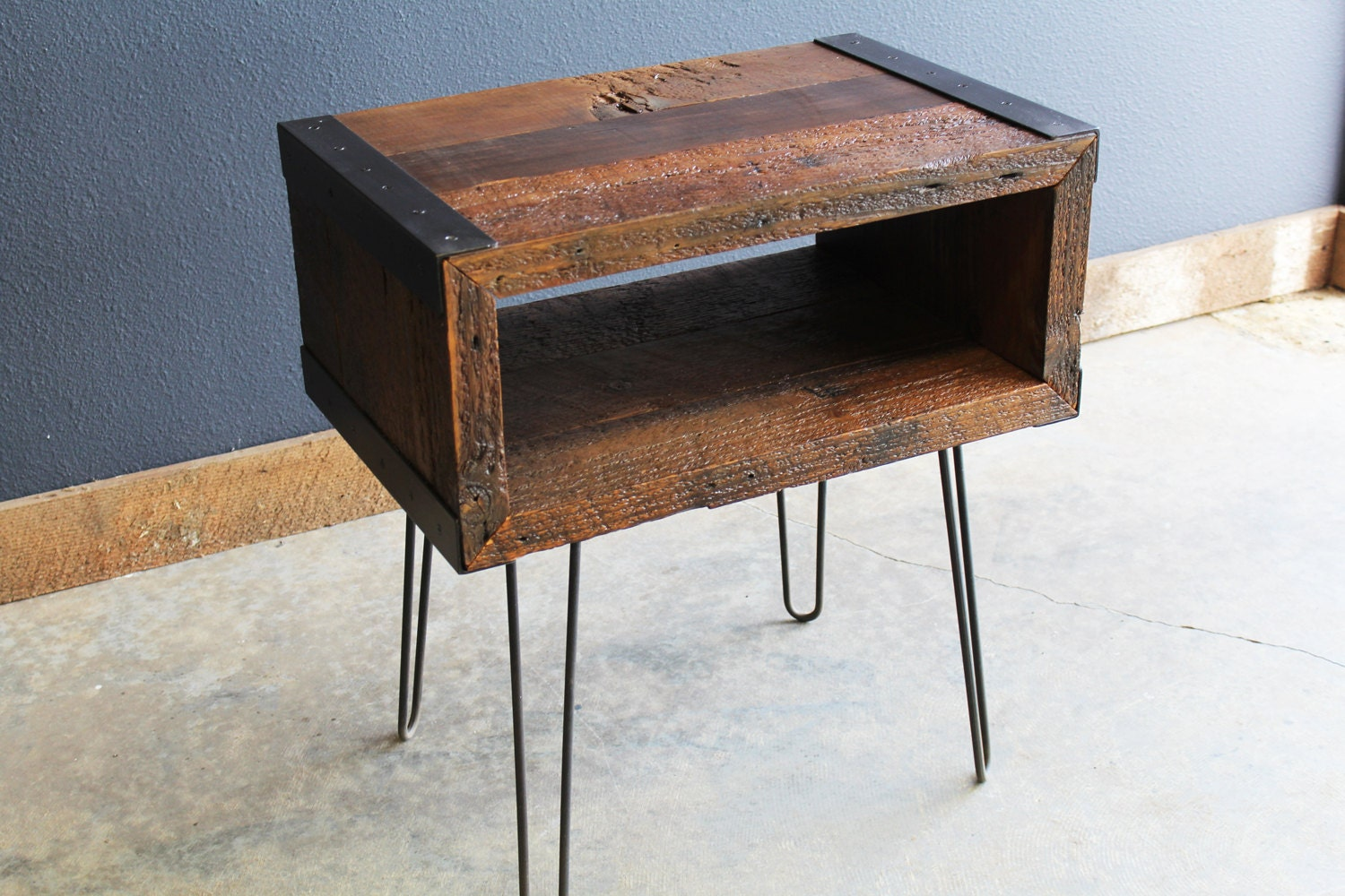 Industrial End Side Table Tv Stand From Old Barnwood With