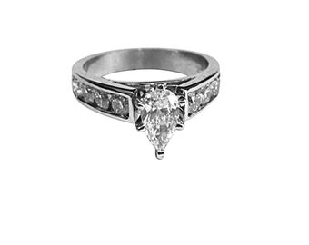 GIA 1.18 TCW Channel Style Pear & Round Cut Diamond Wedding Ring 18k White Gold