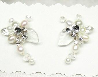 Pearl Bridal Earrings-Anthropologie Inspired-Vintage Inspired Statement Studs-Wired Pearl Earrings-Swarovski Rhinestone Earrings- Bridesmaid