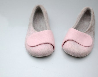 Women Hause shoes - Felted slippers  natural light brown, powder pink