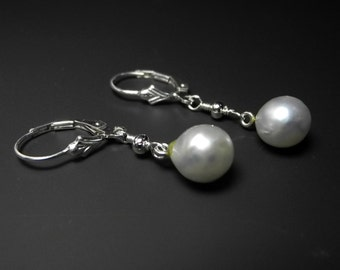 Pearl Dangle Earrings, Long White Pearl Earrings, Sterling Silver, Lever Back Ear Wires, Delicate Pearl,  June Birthstone, Pearls of Wisdom
